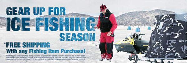 Free shipping w any fishing item for Ice fishing deals