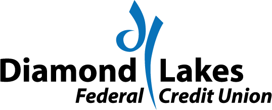 Image of young couple smiling. Diamond lakes logo next to them. Text says Federally insured by NCUA