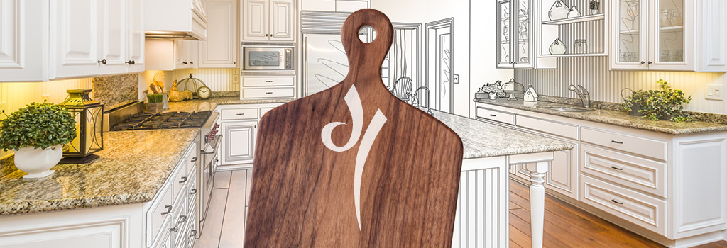 Image of cutting board with Diamond Lakes icon on it.
