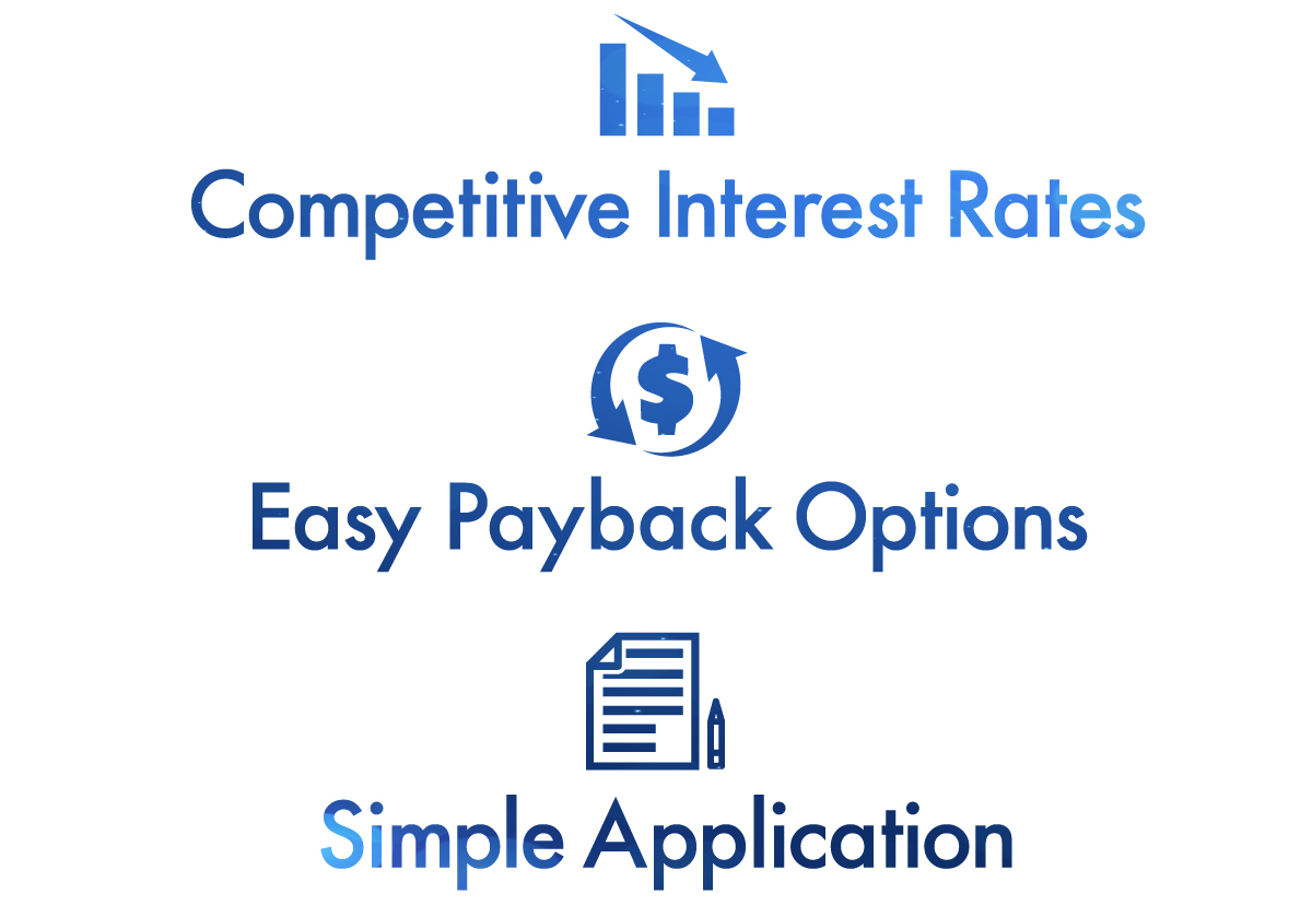 competitive interest rates, easy payback options, simple application