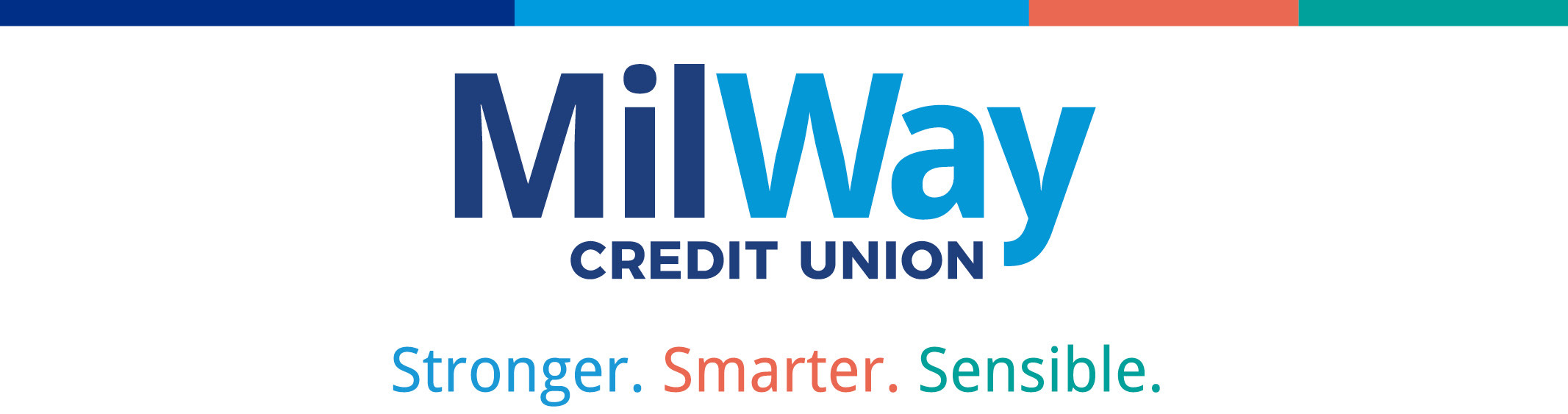 MilWay logo with tagline that says Smarter. Stronger. Sensible.