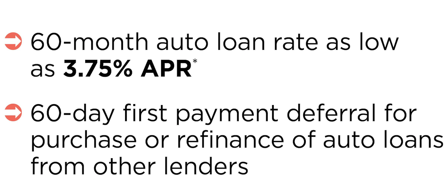 60-month auto loan rate as low as 3.75% APR* 60-day first payment deferra