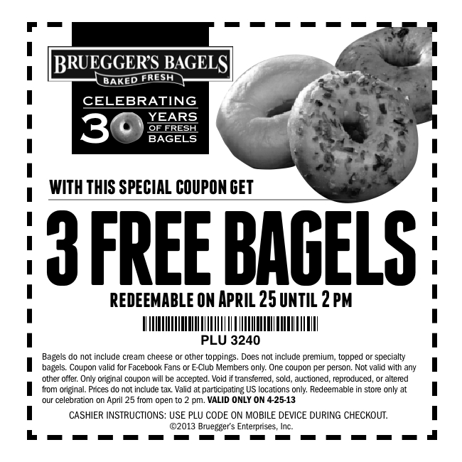 FREE 3 bagels at Bruegger's.