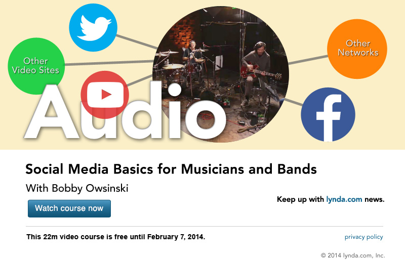 "lynda.com 免费课程 Social Media Basics for Musicians and Bands丨""反""斗限免"