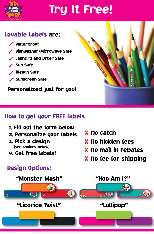 FREE Lovable labels samples...