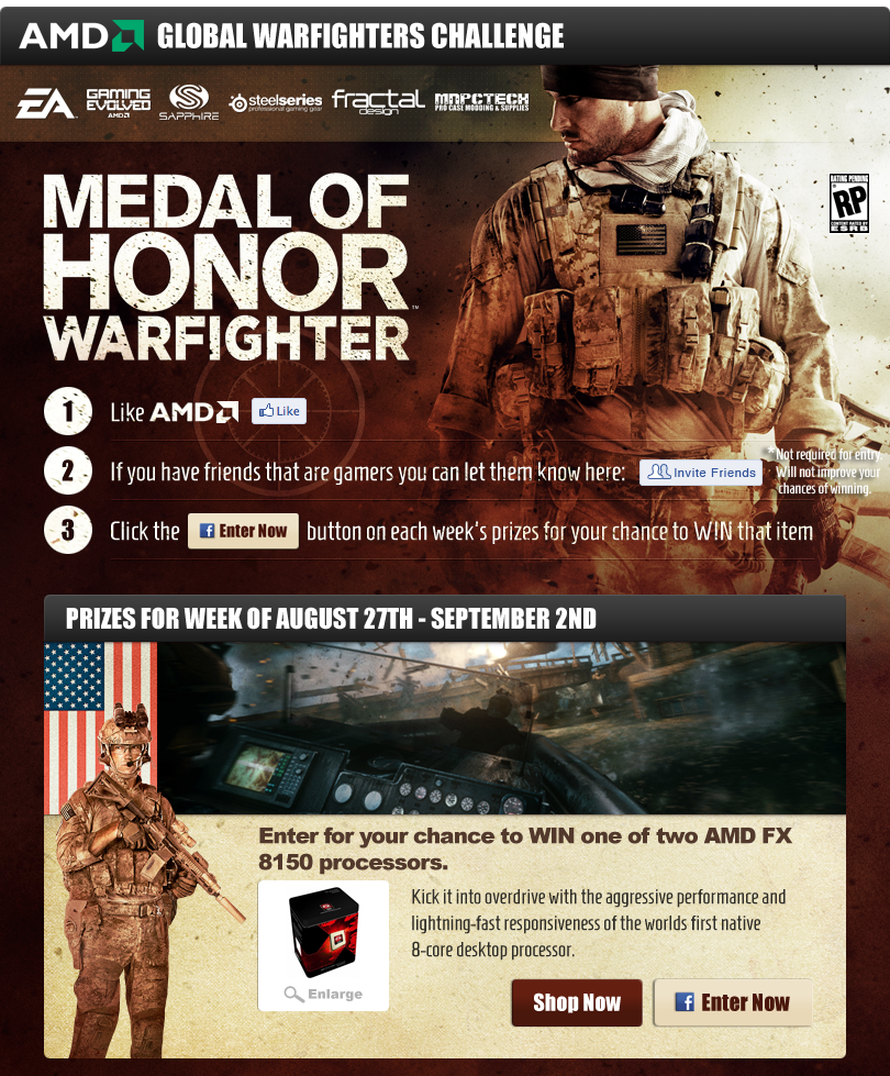 Win custom built Medal of Honor themed gaming gadgets (Worldwide)