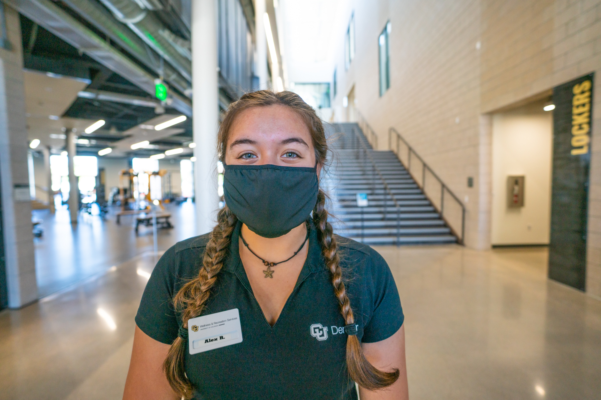 CU Denver student wearing a mask on campus