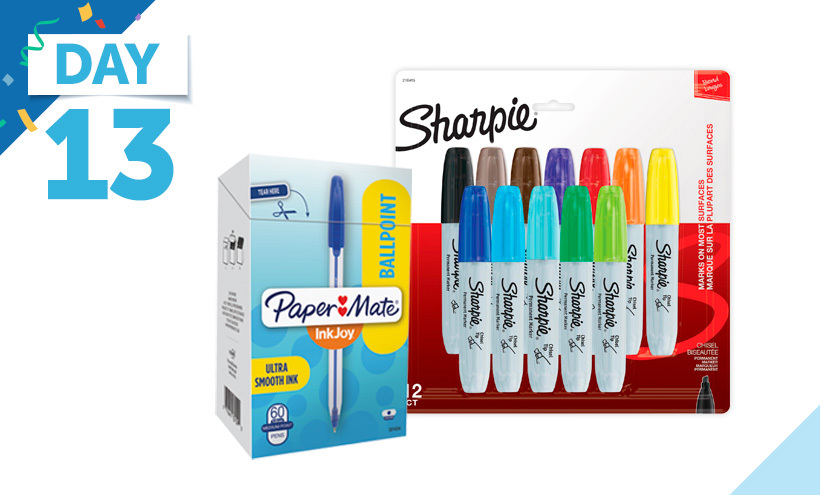 Paper Mate InkJoy 50ST Ballpoint Pens, Sharpie Permanent Markers, Chisel Tip