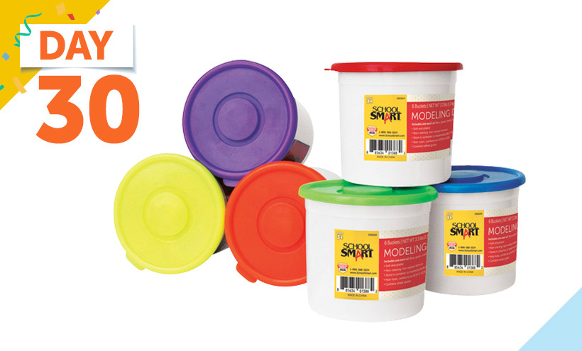 School Smart Modeling Dough, 3-1/3 Pound Buckets, Assorted Colors, Set of 6