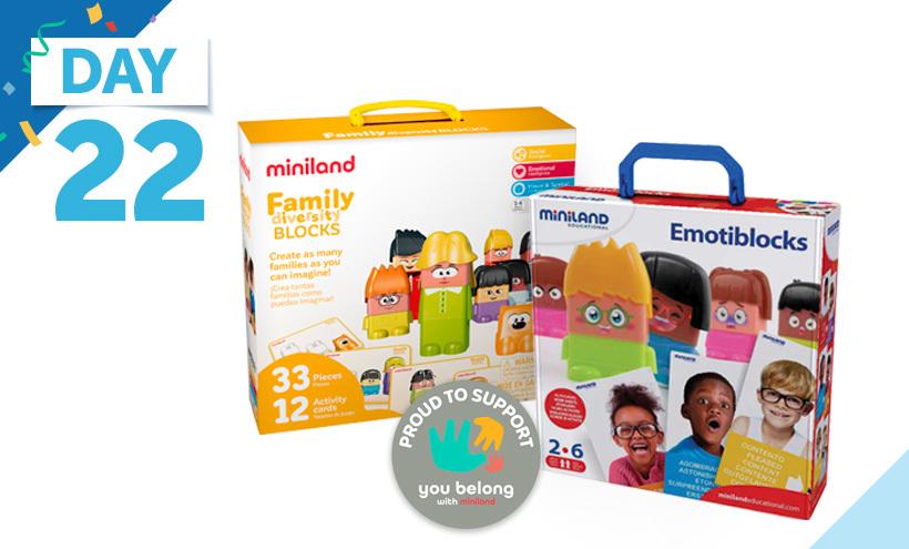 Miniland Emotiblocks Basic Emotions Set, 18 Pieces, Miniland Family Diversity Blocks