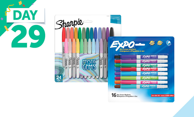 Sharpie Permanent Markers, Fine Point, Mystic Gem Special Edition, Set of 24, EXPO Low Odor Dry Erase Markers, Fine Tip, Assorted Vibrant Colors, Set of 16
