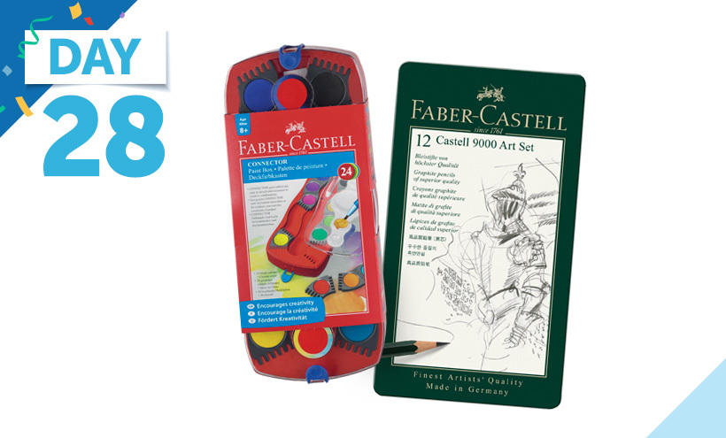 Faber-Castell 12 Color Connector Paint Box, Faber-Castell Castell 9000 Smooth Graphite Pencil, Assorted Tip, Black, Set of 12