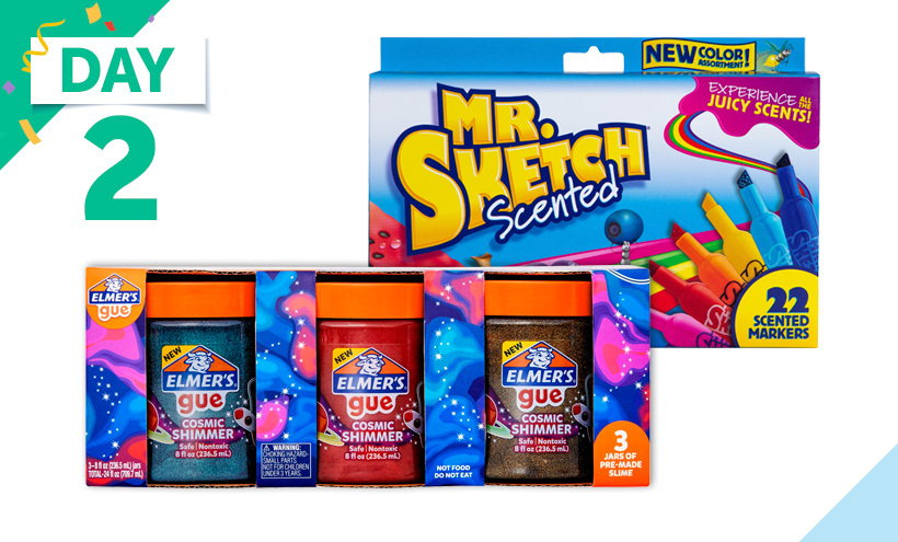 Mr. Sketch Scented Markers, Assorted Colors, Set of 22- Elmer's Cosmic Shimmer Glue Pre-Made Slime, 8 Ounces, Set of 3