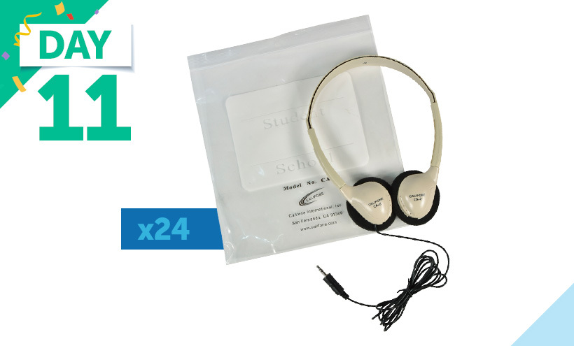 Califone Lightweight On-Ear Stereo Headphones with Resealable Storage Bag