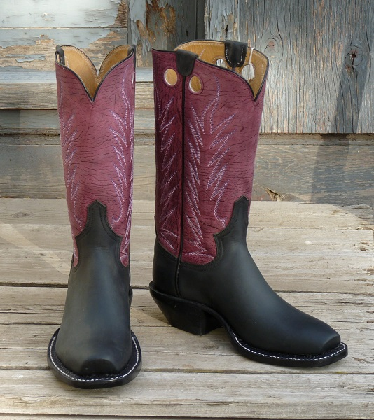 Women's 7 1/2 D - Black Oiltan with Purple Crazy Horse Water Buffalo Tops