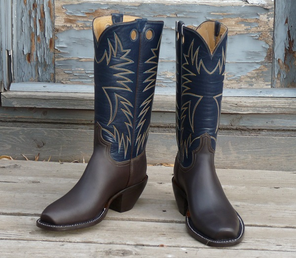 Men's 10 1/2 E - Matte Brown Cowhide with Navy Blue Buffalo Calfskin tops