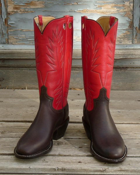 Men's 11 D - Dark Brown Oiltan with Red Calf Skin Tops