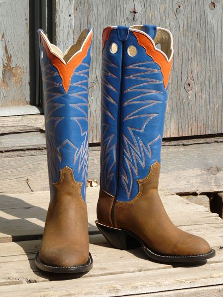 "Men's 8 1/2"" D - Harvest Gold Wax Calf with Blue Calfskin Tops"