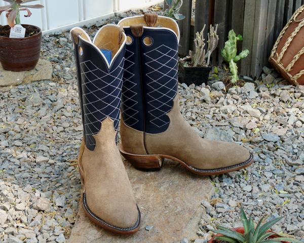 Men's 9 1/2 D - Sand Roughout with Dark Blue Water Buffalo Calfskin Tops