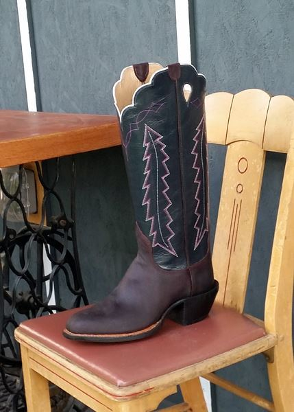 Men's 10 1/2 E  - Merlot Waxed Pig with Gun Metal Blue Buffalo Calfskin tops