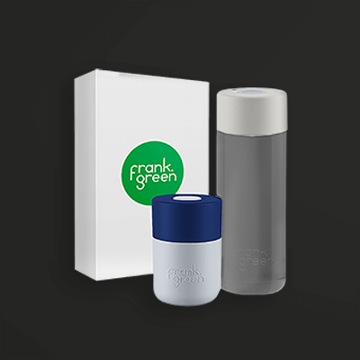 frank green eco-friendly reusable coffee cup and water bottle
