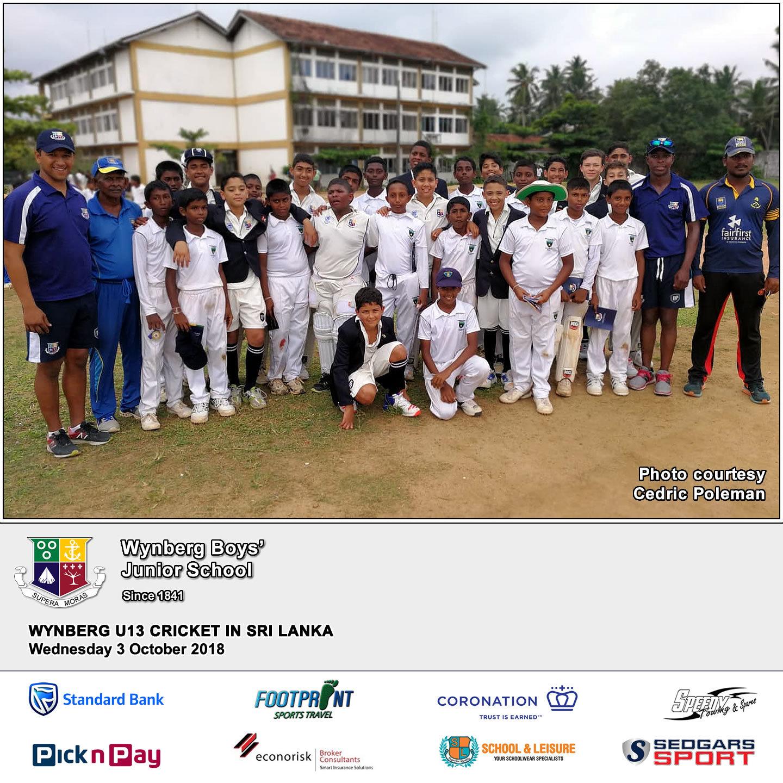 Match 1 vs Sri Sumangala College, Wednesday 3 October 2018