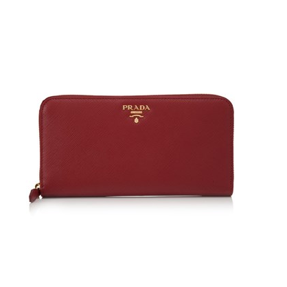 Prada Saffiano Metal Long Zip Around Wallet