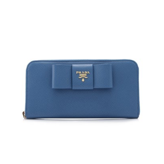 Prada Saffiano Fiocco Long Zip Around Wallet