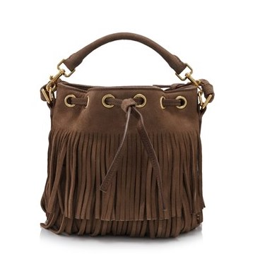 Saint Laurent Small Emmanuelle Fringed Bucket Bag