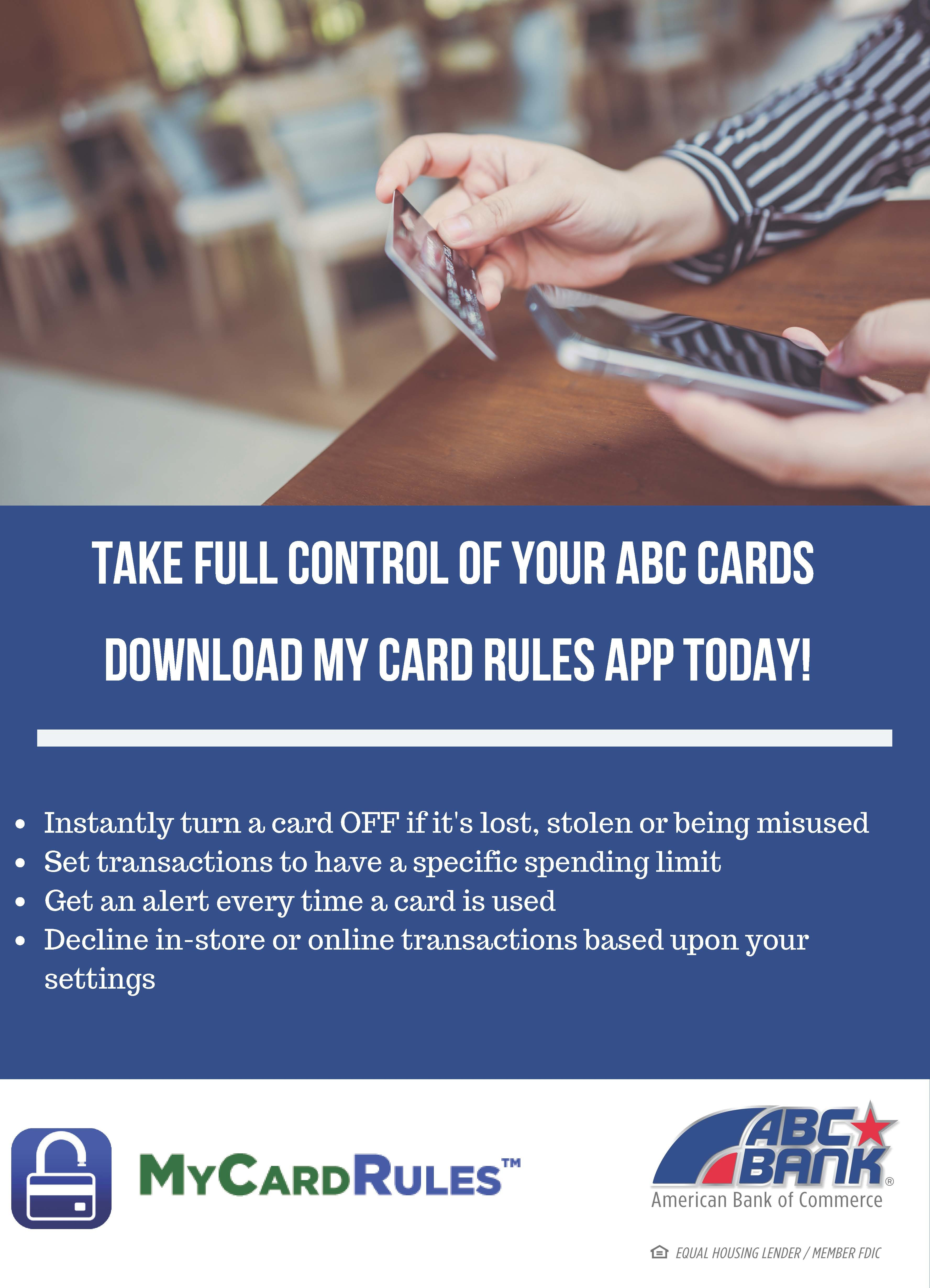 Control Your Cards: New ABC Bank Product, 'MyCardRules,' Assists Consumers With Fraud Prevention