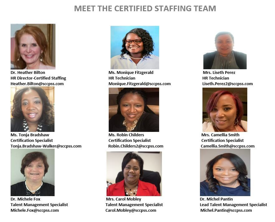 SCCPSS Certified Staffing Team