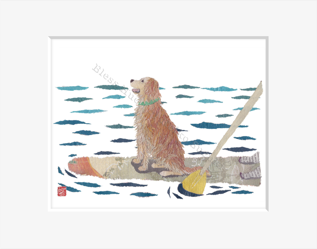 Golden Retriever On Paddle Board