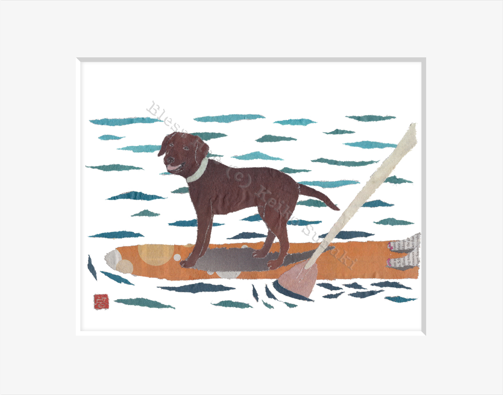 Chocolate Labrador On Paddle Board