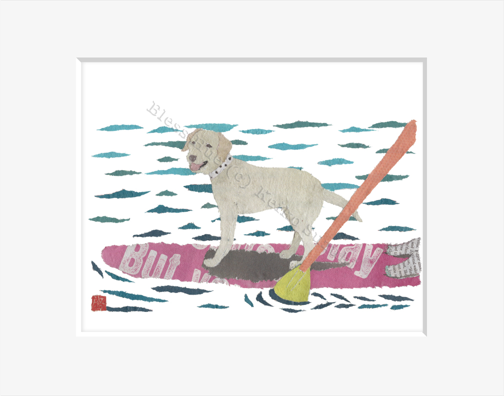 Yellow Labrador On Paddle Board