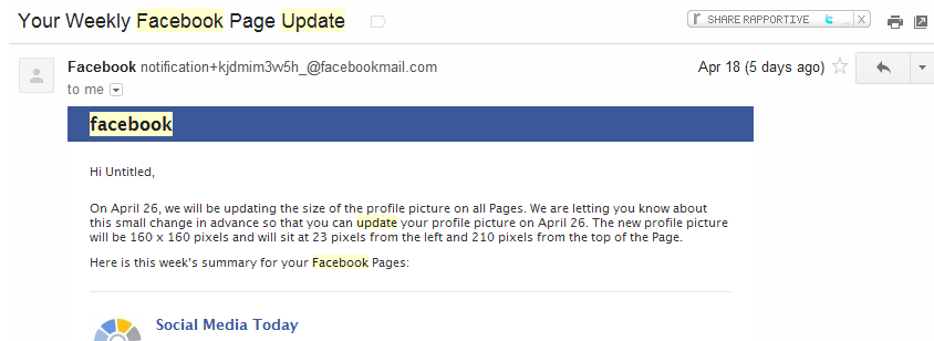 facebook update email
