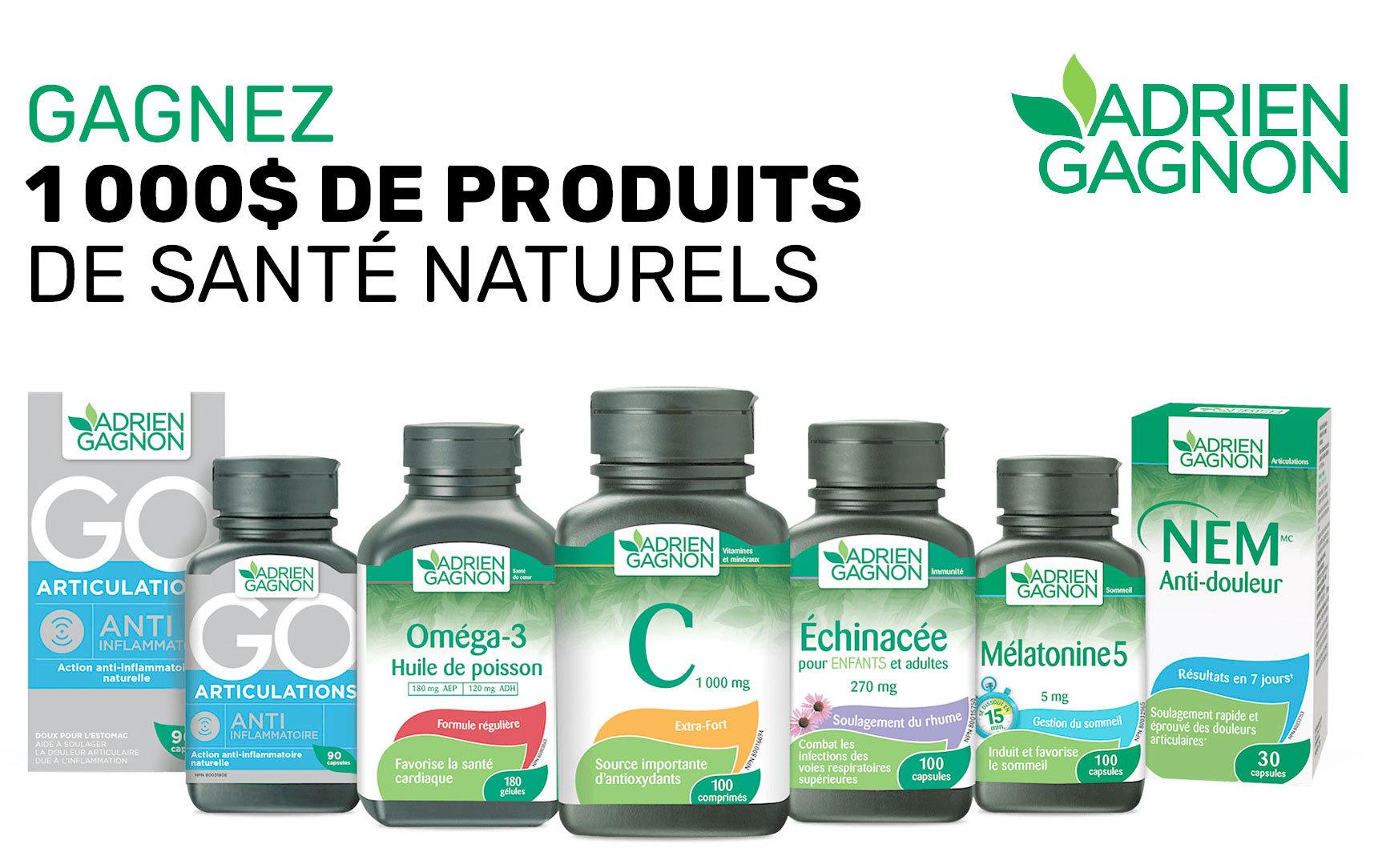 Concours «Gagnez 1 an de produits de santé naturels d'une valeur de 1,000$»