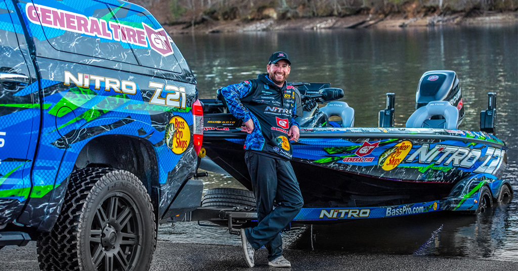 Ott DeFoe and his 2018 Nitro Z21 bass boat