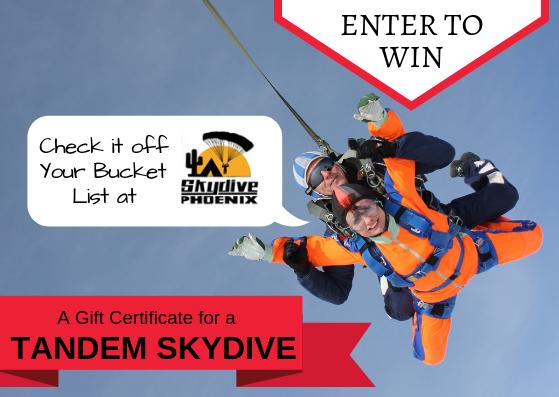 tandem skydive giveaway