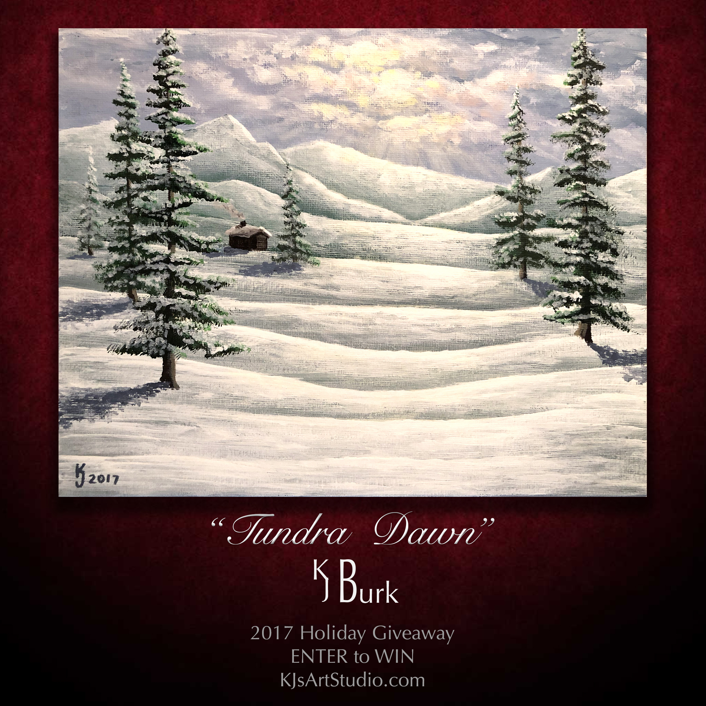 FREE 2017 Holiday Painting Giveaway | Winter Landscape Painting by Fine Artist, KJ Burk