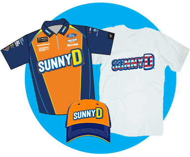 SunnyD merchandise consisting of hats, shirts, bottles