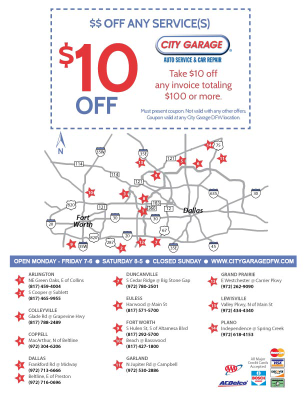 $10 Off Any Services at City Garage