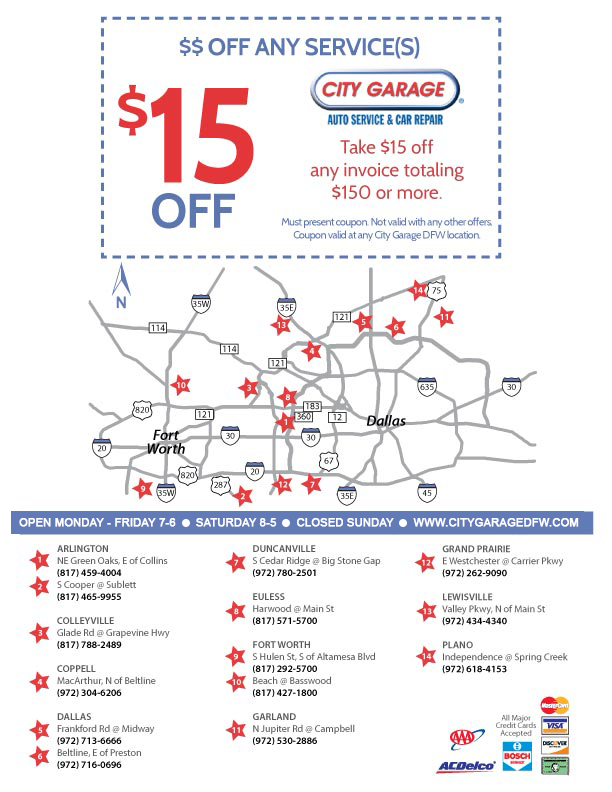 $15 Off Any Services at City Garage