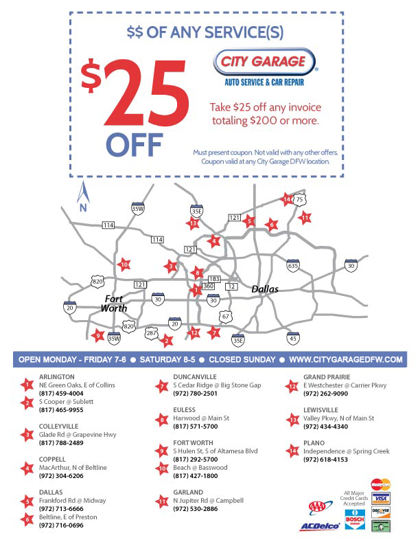 $25 Off Any Service at City Garage