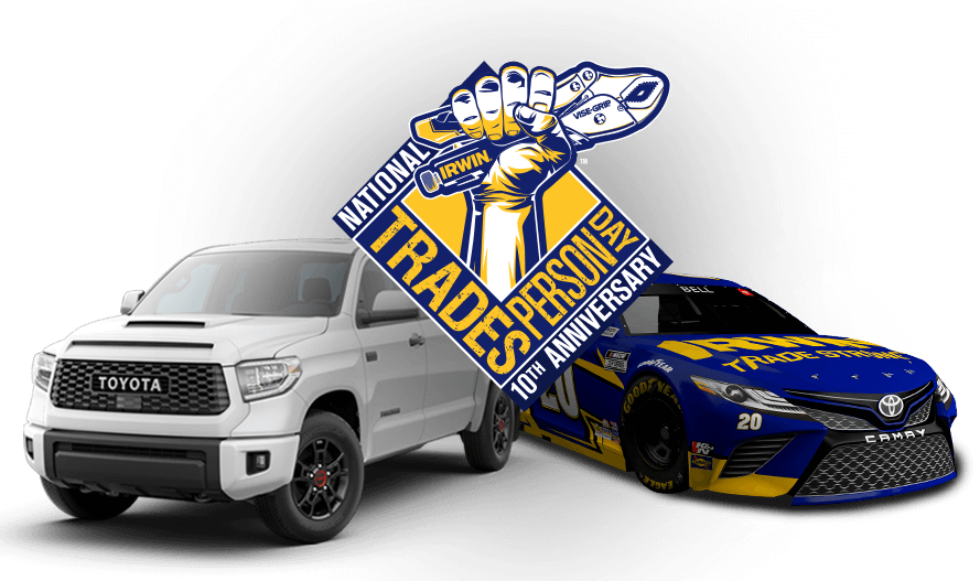 National Tradesperson Day 10th Anniversary logo overlaid in front of a 2021 Toyota Tundra TRD Pro CrewMax truck and the Joe Gibbs Racing, Number 20 Nascar Toyota Camry race car.