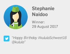 Winner 29 August: Stephanie Naidoo