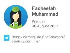 Winner 30 August: Fadheelah Muhammad