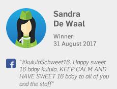 Winner 31 August: Sandra De Waal