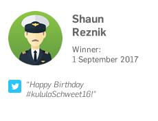 Winner 1 September: Shaun Reznik