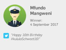 Winner 4 September: Mfundo Mangweni